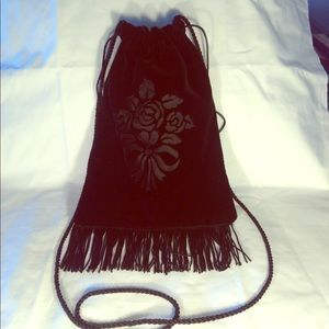 Black Fringed Embossed Velour Crossbody Bag